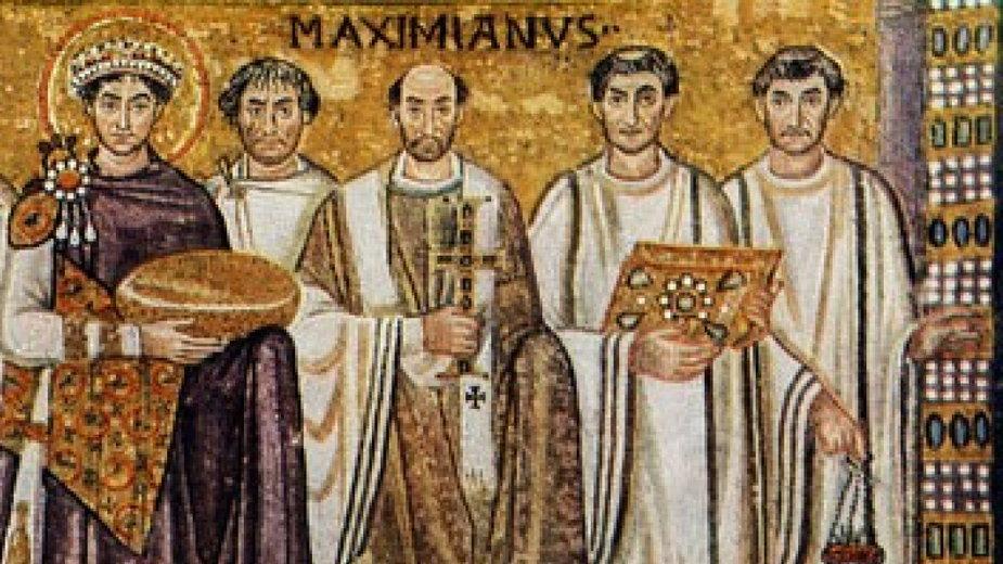 Biskup Maksymian w otoczeniu diakonów, mozaika z kościoła San Vitale w Rawennie