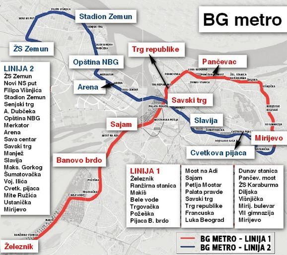 Mapa prve dve linije metroa