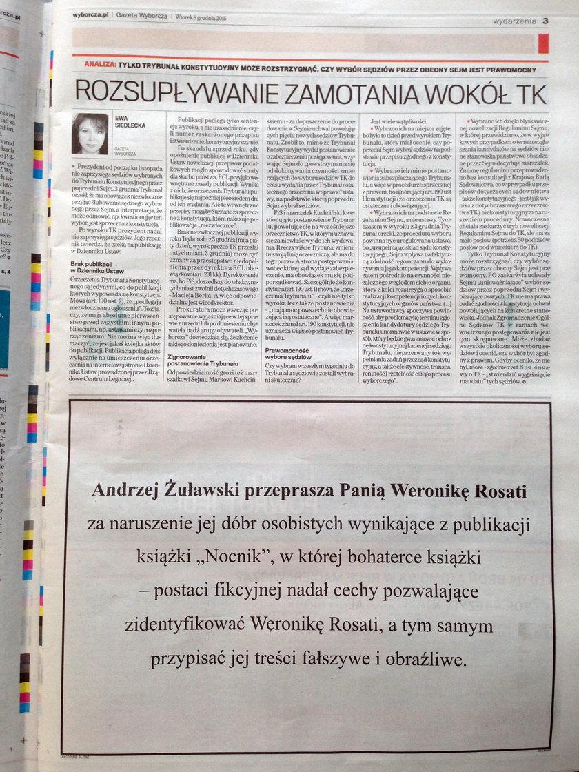Przeprosiny Andrzeja Żuławskiego dla Weroniki Rosati w Gazecie Wyborczej