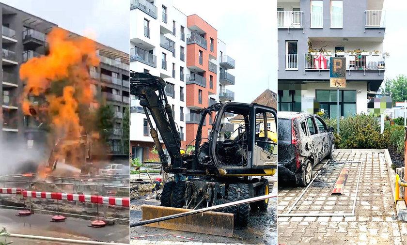 Słup ognia w centrum Wrocławia. Uszkodzony gazociąg, zniszczone auta i ewakuacja mieszkańców
