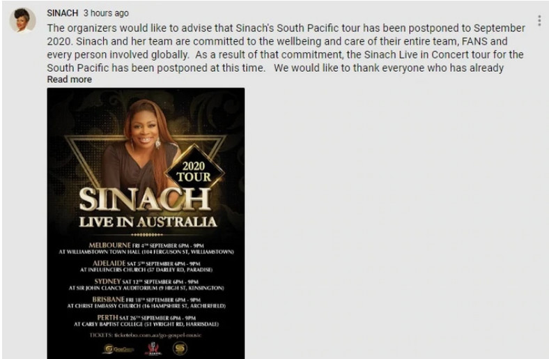 Sinach postpones her South Pacific Tour. (Tuko)