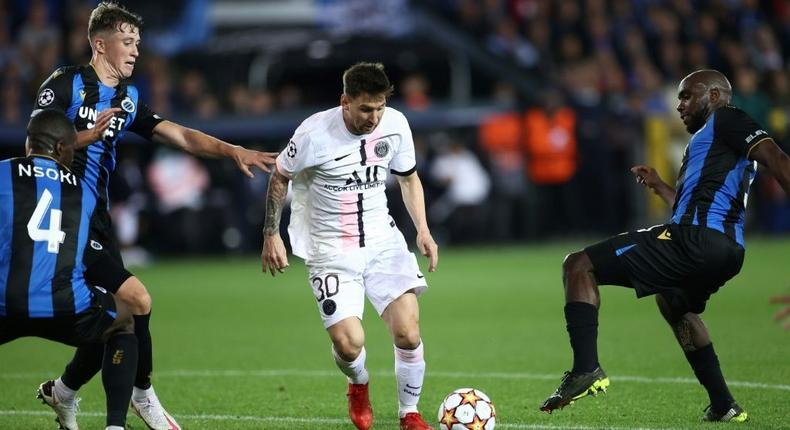 PSG were held to a 1-1 draw by Club Brugge as Lionel Messi made his first start for the French side Creator: KENZO TRIBOUILLARD