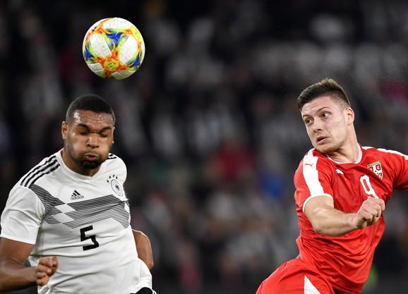 Luka Jović na meču sa Nemačkom