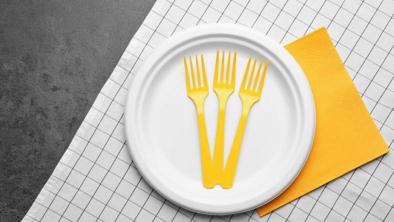 Plastikowe naczynia, talerz, widelce