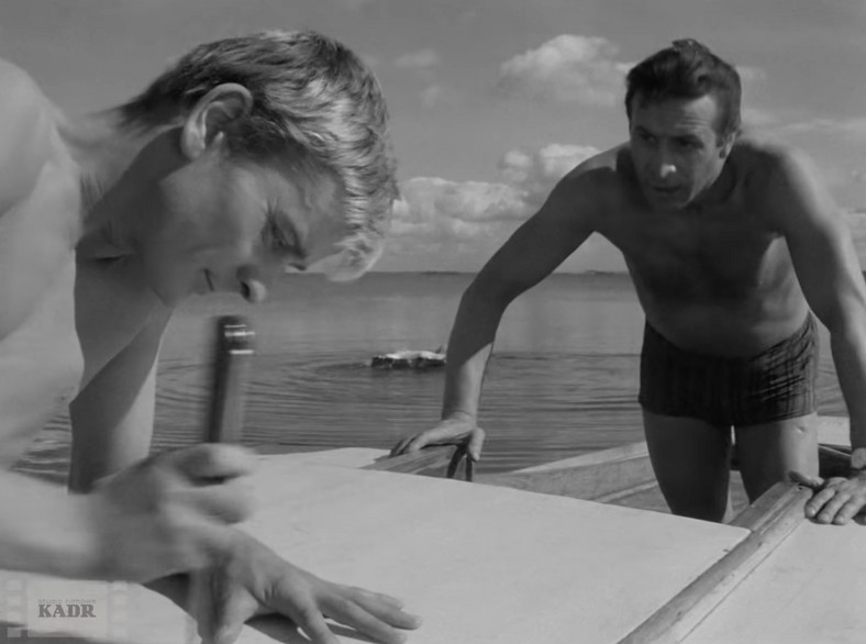 "Zygmunt Malanowicz y Leon Niemczyk en el set de la película ""cuchillo en el agua"" Roman Polanski"