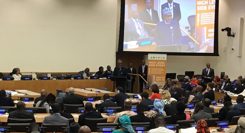 President Buhari speaking at the high-level event on Illicit Financial Flows (IFFs) held on the sidelines of the ongoing 74th United Nations General Assembly in New York.  [NAN]