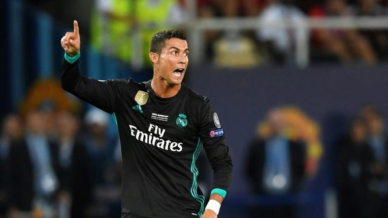 Real Madrid s forward Cristiano Ronaldo gestures during the UEFA Super Cup  football match between Real Madrid 5fe8c6527d611