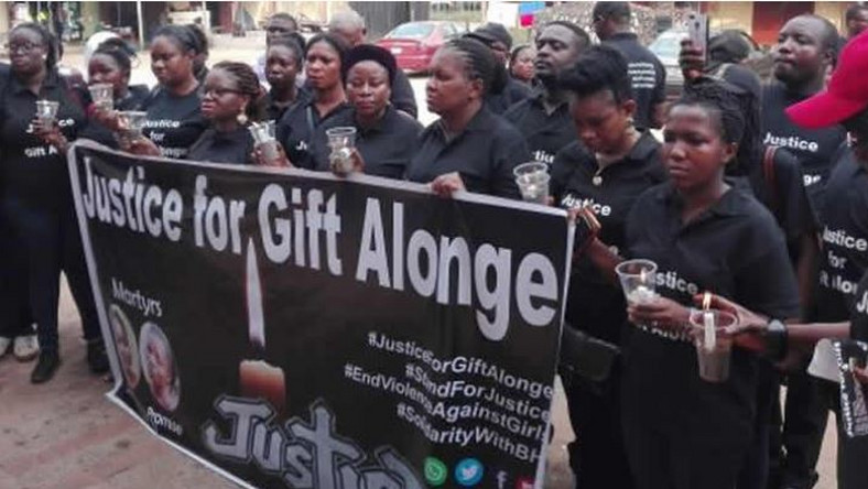 The Brave Heart Initiative for Youth and Women (BHI), headed by Lady Grace Osakue seeking justice for Gift Alonge in Benin City on Wednesday, February 6, 2019. (Punch Metro)