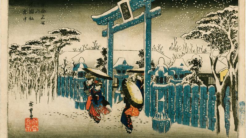 Utagawa Hiroshige_Swištynia Gion w sniegu_Z cyklu_Slynne widoki Kioto