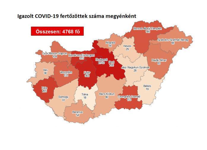 A Covid-19 fertőzöttek száma megyénként, 2020. augusztus 12-én / Forrás: koronavirus.gov.hu