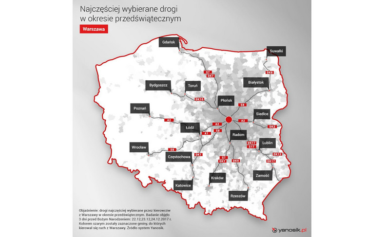 Ruch przedświąteczny z Warszawy