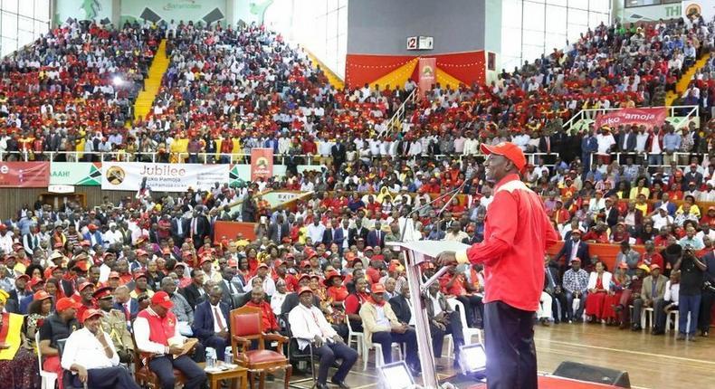 Deputy President William Ruto addresses Jubilee Party delegates at Kasarani, January 13, 2017.
