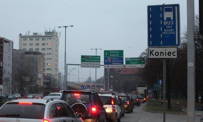 Korkuje się buspas w centrum Gdańska