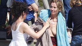 Emma Thompson nago na plaży