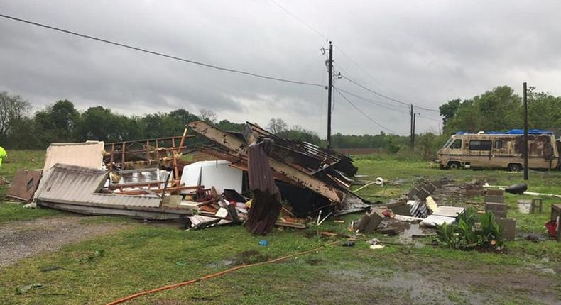 A trailer home in Louisiana where two people were killed after a possible tornado on April 2, 2017.