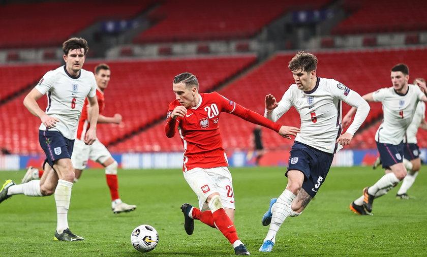 Piotr Zieliński podczas meczu Anglia - Polska w ramach eliminacji MŚ 2022 (31.03.2021)