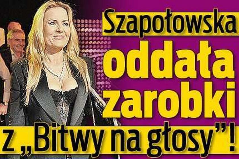 """Szapołowska oddała zarobki z """"Bitwy na głosy""""!"""