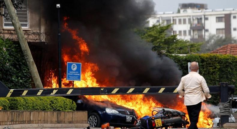Vehicles burning during the Dusit D2 attack
