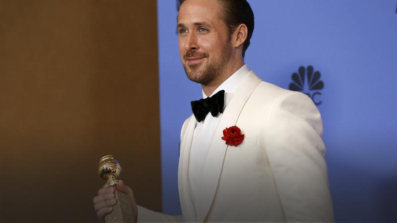 Ryan Gosling holds his award during the 74th Annual Golden Globe Awards in Beverly Hills
