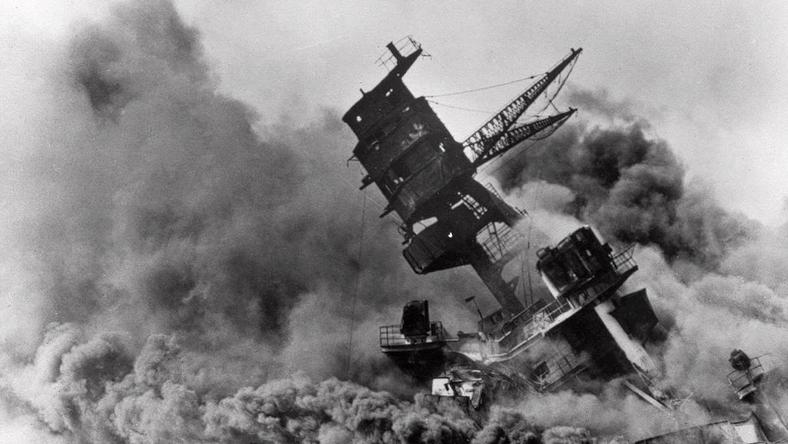 Smoke rises from the USS Arizona battleship as it sinks after the attack on Pearl Harbor on Dec. 7, 1941.