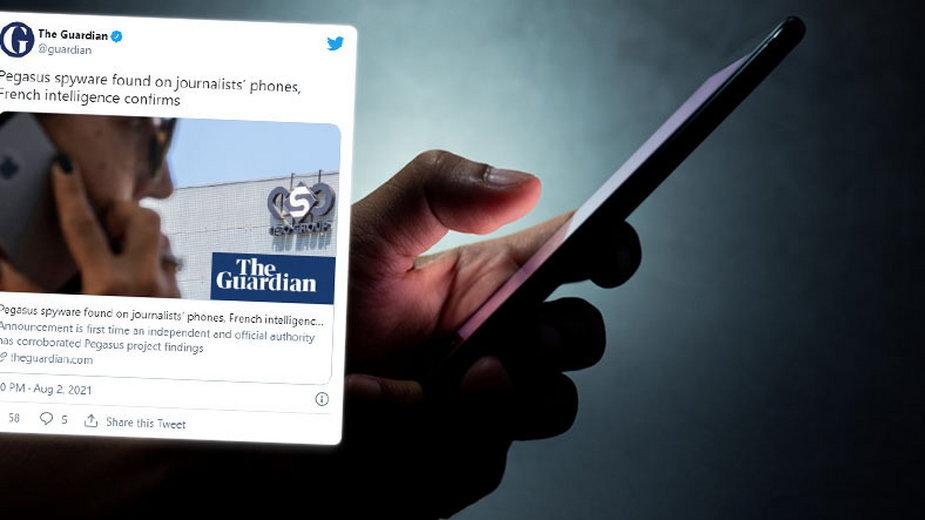 Pegasus to oprogramowanie szpiegujące, które umożliwia operatorom śledzenie wiadomości, zdjęć i e-maili, nagrywanie rozmów i potajemne aktywowanie mikrofonów (Fot. Twitter/The Guardian)