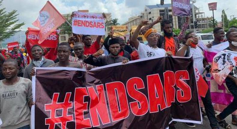 ENDSARS protesters in Lagos on Thursday, October 9, 2020. (Sahara Reporters)