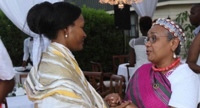 File photo of Zahra Bahlewa Moi with First Lady Margaret Kenyatta.