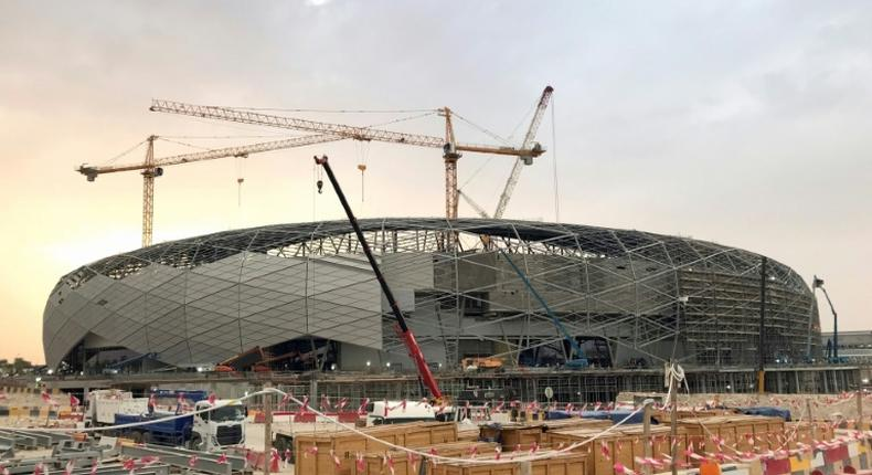 The Education City stadium, seen here under construction in May last year, is the third to be completed among eight venues Qatar is readying for the 2022 World Cup