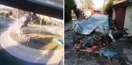 Straszny wypadek, auto przeleciało nad rondem! Szokujące nagranie