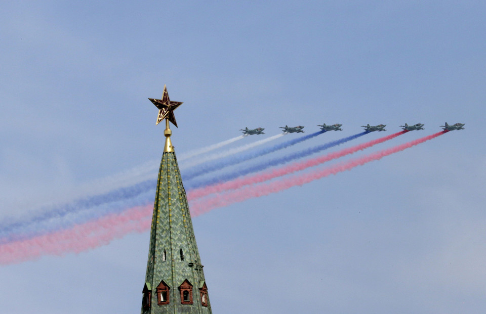 SU-25 military jets fly in formation during the Victory Day parade above Red Square in Moscow
