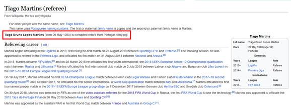 Stranica na Vikipediji posvećena Tijagu Martinsu je odmah promenjena