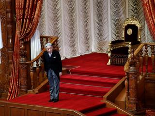 Japan's Emperor Akihito leaves from his seat after he declared the opening of an ordinary session of