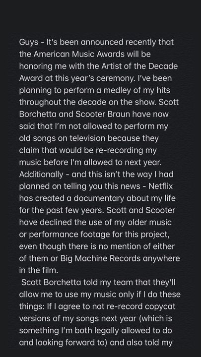 Taylor Swift accuses Scooter Braun and Scott Borchetta of preventing her from using her music. (Instagram/Taylor Swift)