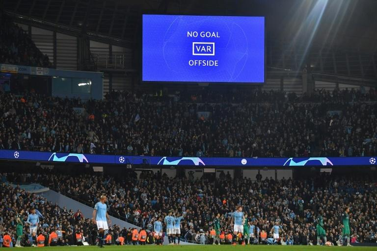 All over: A screen shows the VAR decision announcing that Raheem Sterling's goal has been dissallowed in the closing minutes