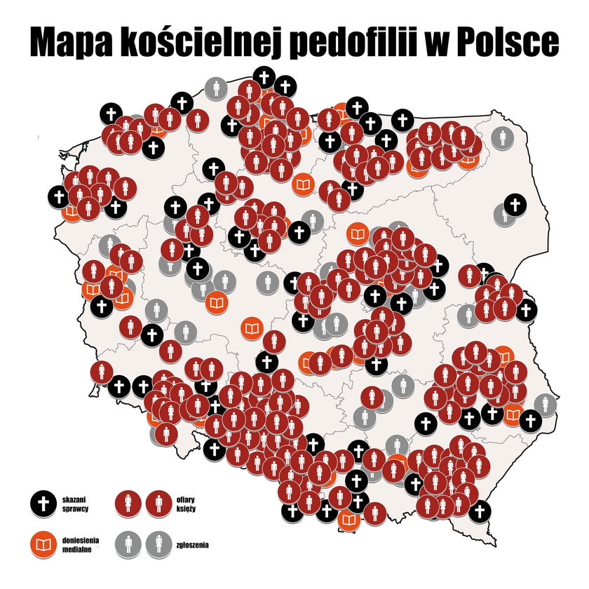Opublikowano mapę pedofilii w polskim Kościele! Skrzywdzeni protestują w Warszawie