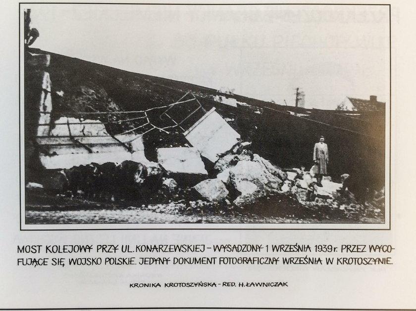 Wysadzony przez Polaków most kolejowy w Krotoszynie