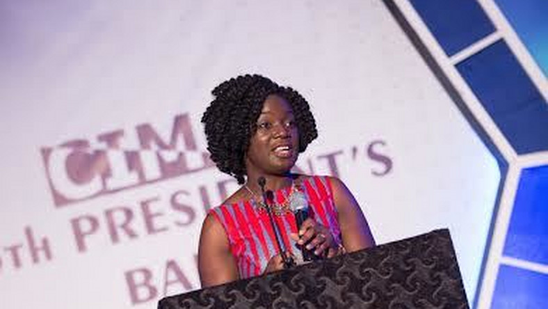 Lucy Quist, Managing Director of Airtel Ghana & CIMG Marketing Woman of The Year 2014 making a presentation on the initiative