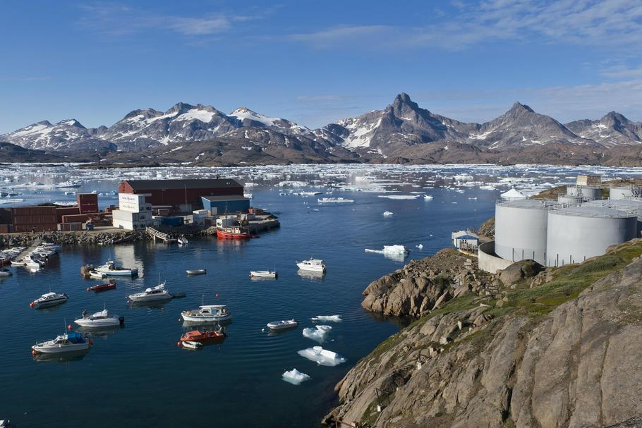Harbour with oil tanks, Tasiilaq or Ammassalik, East Greenland, Greenland, North America