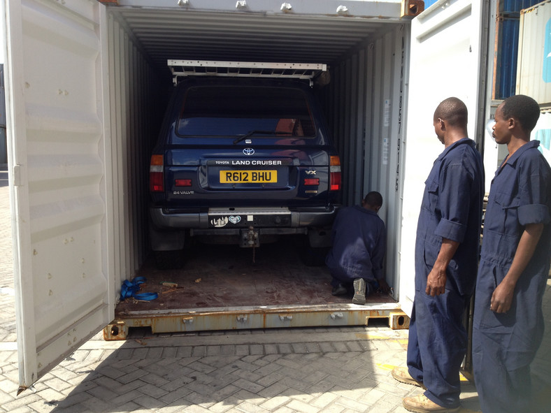 A car hidden inside a container at the Port of Mombasa.