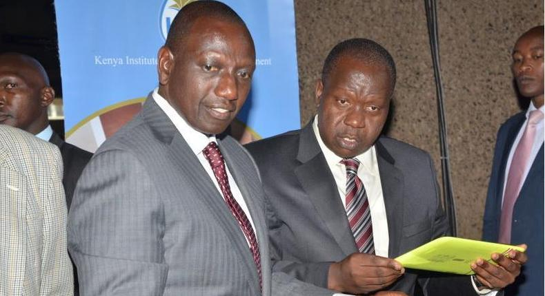 DP William Ruto with Interior CS Fred Matiang'i (Twitter)