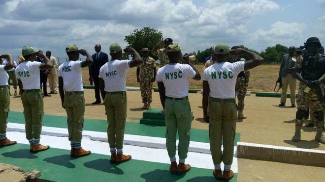 NYSC Corps members on parade (BBC)