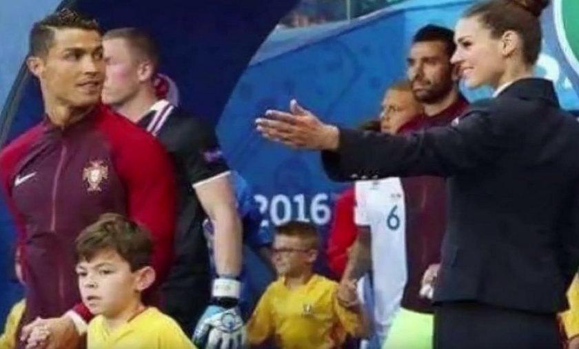 Piękna hostessa zauroczyła Ronaldo przed meczem Portugalia - Islandia