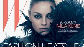 """Mila Kunis jako czarny łabędź na okładce """"W"""""""