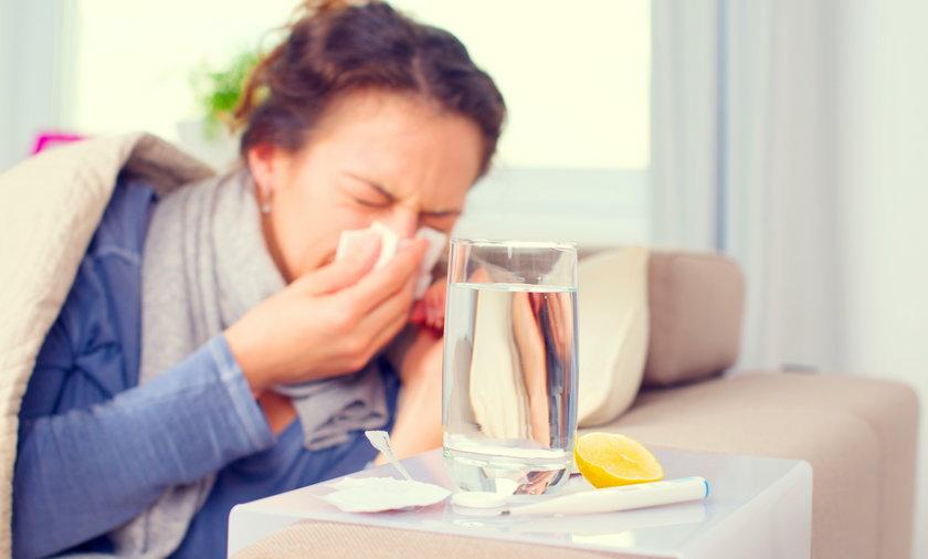 kobieta, choroba, przeziębienie, grypa