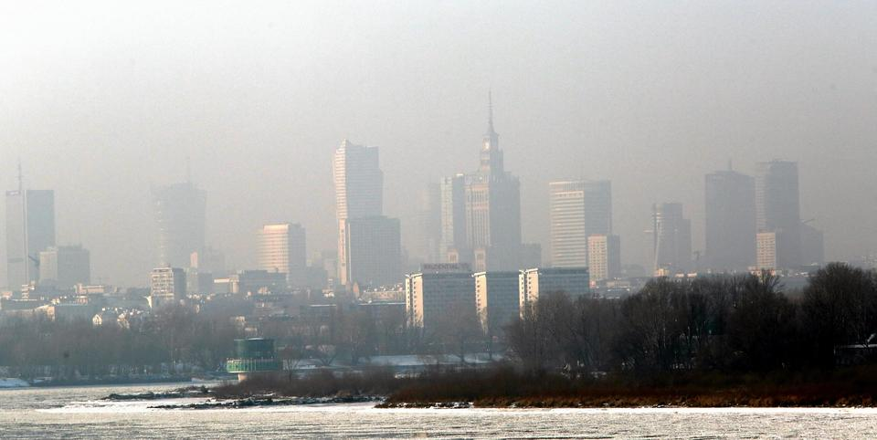 Smog nad Warszawą 8-9 stycznia 2017