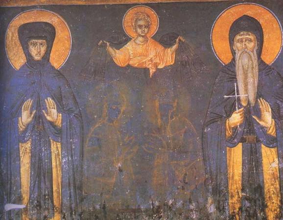 Kraljica Jelena i kralj Milutin, freska iz Gračanice (1324)