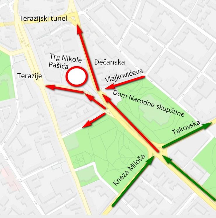 mapa zatvorene ulice nedelja3