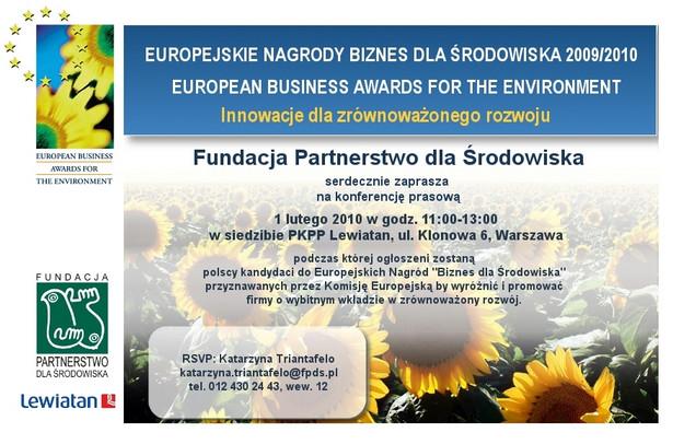 """Konkurs Europejskie Nagrody """"Biznes dla Środowiska"""""""