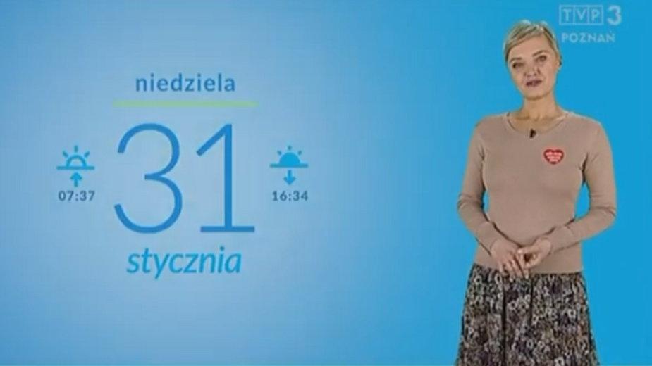 Screen z niedzielnej zapowiedzi pogody w TVP Poznań