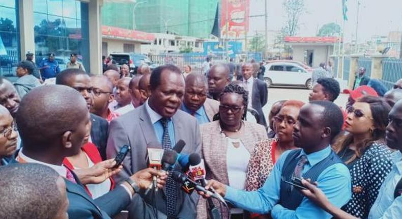 File image of Jubilee Party Secretary General Raphael Tuju addressing the press at a past event